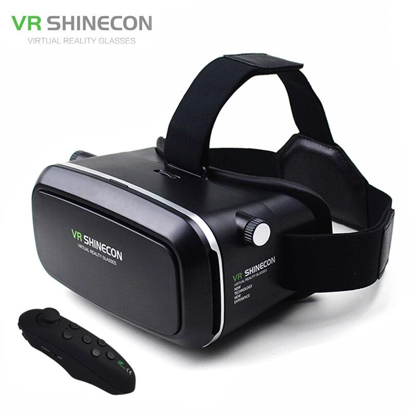 Vr shinecon virtual reality brille kopfhalterung moblie 3d videobrille helm karton 2,0 box + telefon bluetooth steuer gamepad
