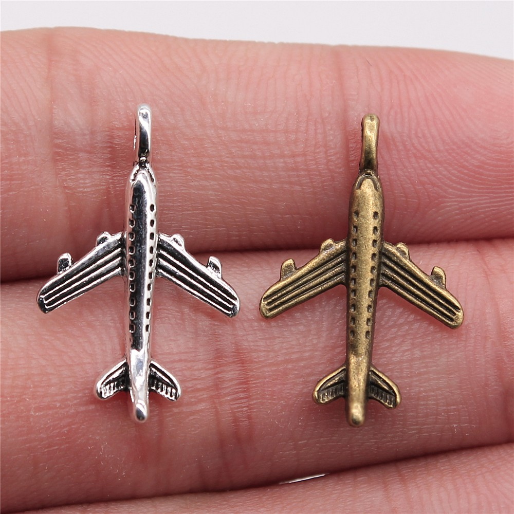 WYSIWYG 20pcs 23x15mm Pendant Aircraft Airplane Airbus Charm Pendants For Jewelry Making Antique Silver Color Aircraft Pendants image