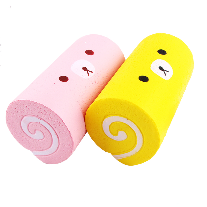 Pretend Play 15CM Cute Jumbo Kitchen Toy Bear Cake Roll Squishy Slow Rising Bread Sweet Kid Toy Squeeze Toy Phone Strap Kids