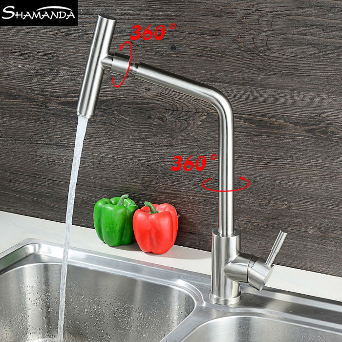 New Free Shipping SUS304 Stainless Steel Nickle Kitchen Faucet Various Styles 360 Rotation Hot and Cold Water Sink Mixer Tap free shipping sus 304 stainless steel faucet modern kitchen sink faucets brushed basin mixer hot and cold kf350
