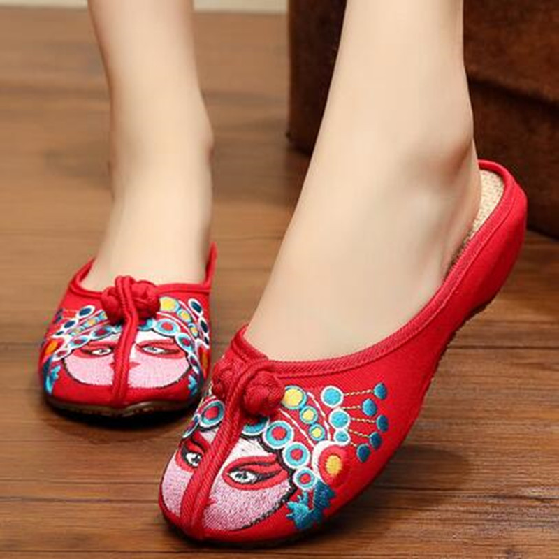 Beijing Opera Embroidered Cotton Fabric Ethnic Style Slipper Shoe TPR Sole Flat Heel Slingbacks Women Vintage Shoes vintage embroidery women flats chinese floral canvas embroidered shoes national old beijing cloth single dance soft flats