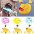 4 Pcs Família Floating Banheira Brinquedo Pato De Borracha Amarelo + Bebê Crianças Shampoo Banho de Banho Shower Cap O