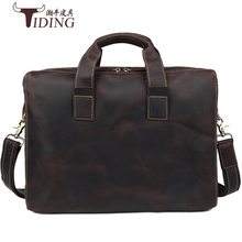 cow leather man handbags 2017 new business dress casual vintage fashion brand mens briefcases real male shoulderbag