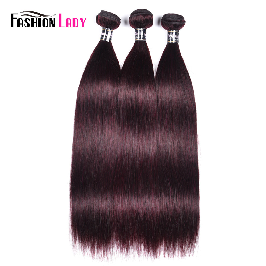 Fashion Lady Pre-Colored Brazilian Hair Bundles Human Hair Extensions Straight Hair 3 Pieces Dark Purple Hair Bundles Non-Remy