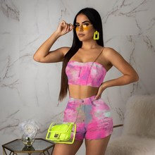 Tie Dye Print Sexy Two Piece Set Sexy  Club Tracksuit Women Off Shoulder Backless Crop Top And Hole Biker Shorts Neon Outfit цена