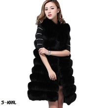 Large size S-10XL new silver fox color faux fur coat 2017 vest long striped women white c