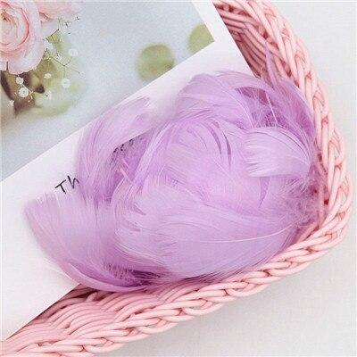 Разноцветные, 100 шт, гусиные перья, 8-12 см, гусиные перья, сценический шлейф, перья, промытый гусиный пух, пушистый шлейф для свадьбы, 3-4 дюйма - Цвет: light purple