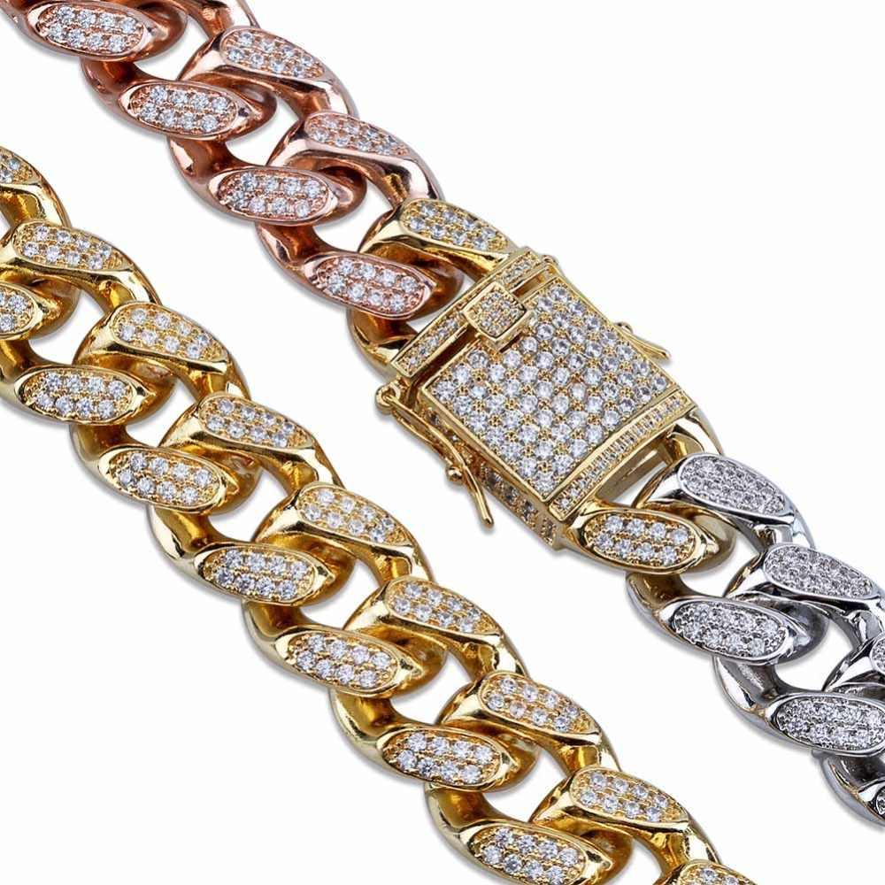 TOPGRILLZ ผู้ชายสไตล์ใหม่เงินทอง Rose Gold Tricolor Iced Out Cubic Zircon Cuban Link Chain สร้อยข้อมือ Hip Hop เครื่องประดับของขวัญ