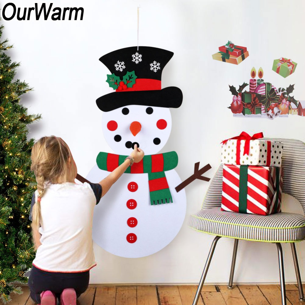 OurWarm Christmas Gifts for Kids DIY Felt Snowman Set Christmas Decorations Wall Hanging with Stick on