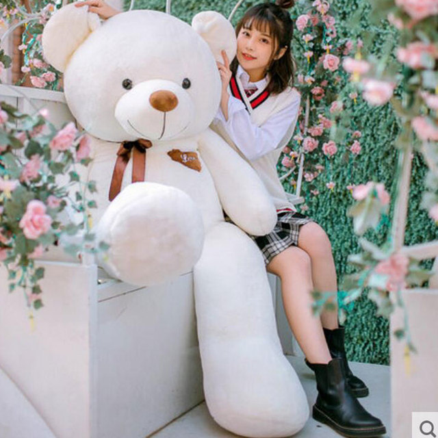 Kawaii Lovely Stuffed Toys 160cm Kawaii Teddy Bear Plush Pillow with Heart Soft Plush Toys for Girls Birthday Gift