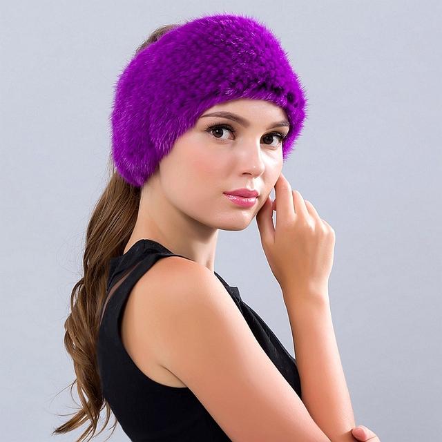 Invierno Sombrero de piel de Visón Real de las mujeres Gorros Sombreros Para Las Niñas moda Nuevos Gorros Sombreros Gorros Ruso Sólida de Piel de Visón de Pelo banda