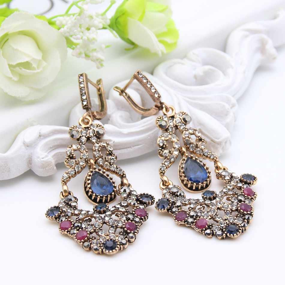 2017 Fashion Morocco Earrings Antique Gold Plating Swinging Pendant Earrings Princess Hook Luxury Women Jewelry Festival Gift