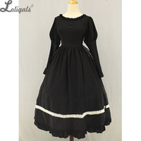 Classic Maid Meillin Black Lolita Dress with White Apron Long Maid Costume by Soufflesong
