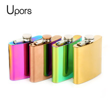 Upors 6oz Colorful Hip Flask for Alcohol Pocket 304 Stainless Steel Alcohol Whisky Flask Metal Liquor Wine Whiskey Bottle(China)