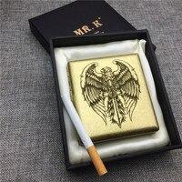 Personalized Eagle Sword Copper Cigarette Case Box Male Metal Cigarette Boxes Laser Engraved Storage Smoke Box Eagle