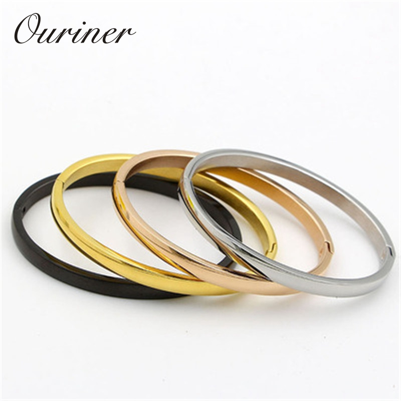 Simple Couple Jewelry Stainless Steel Rose Gold-Color Smooth Lover Bangle Buckle Love Bracelets & Bangles For Men Women K0063