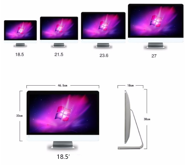 OEM 18.5inch 21.5inch 23.5inch 27 Inch Core I3 I5 I7 Cheap All In One Wifi Pc/computer Desktop