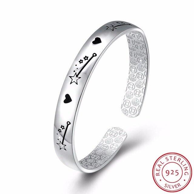 Adjustable Zirconia Charm Bracelets For Women Heart Star Pattern 925 Sterling Silver Jewelry Bileklik Pulseras Mujer Bracelet