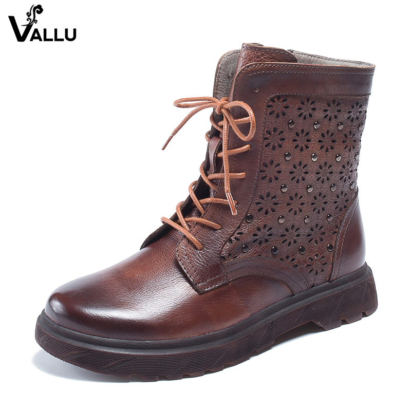2018 VALLU Vintage Women Ankle Boots Genuine Leather Lace Up Round Toes Lace Up Zipper Handmade Ladies Martin Boots