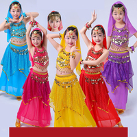 High Quality Sexy Belly Dance Dresses Costumes For Girls Red Yellow Rose Purple Blue 6 Pcs Set Princess Children Dancing Suit