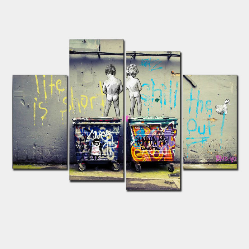 4 Pcs/Set Banksy Art Life Is Short Chill The Duck Out classic abstract oil painting printed wall pictures for living room