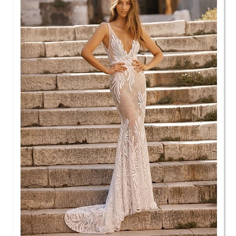 2019 hot styles berta design deep V neck nude bridal mermaid wedding dresses open V back brush train wedding gown lace HA059