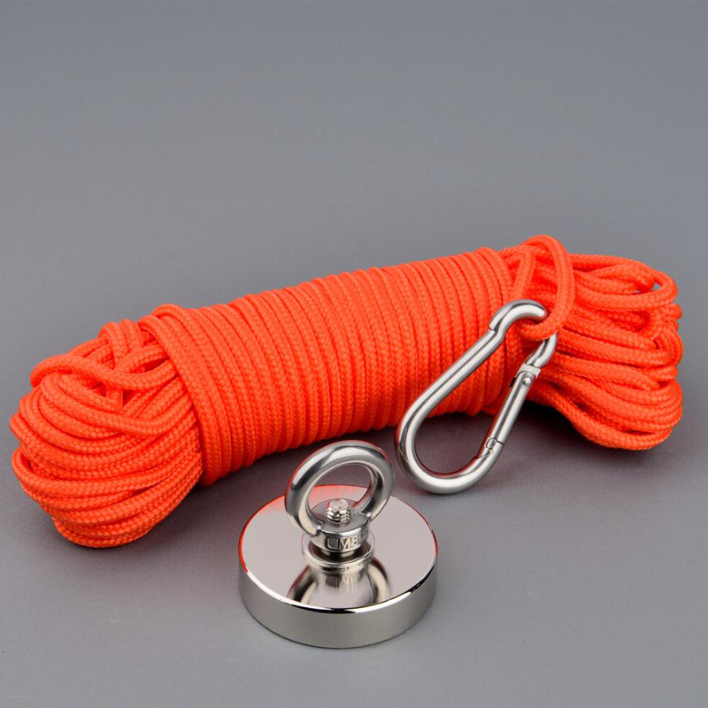 150Kg Design Magnet Strong N52 Neodymium Permanent Magnet Magnet Fishing Magnets with 10m Rope Option Magnetic Material Base