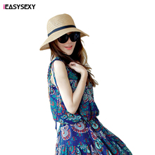 iEASYSEXY Brand 2016 New Korean Style Summer Sunscreen Straw Cap Two Colors Fashion Women Adult Casual Beach Hat With Bowknot