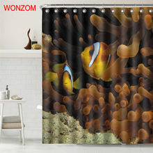 WONZOM Polyester Fish Shower Curtains with 12 Hooks Modern 3D Animal Waterproof Curtain For Mildewproof Bathroom Decoration Gift