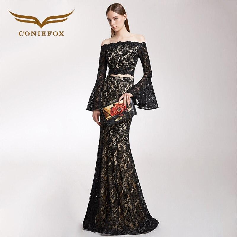 CONIEFOX 32306 red lcae Tail Fashion black mermaid prom dresses host slim party evening dress gown vestido longo de festa 2017