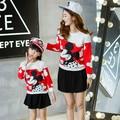 Kiqoo 2016 Otoño Lindo Mickey Sweatershirt + Falda Mamá y Ropa Fijada Juego Madre Hija Trajes Suéteres de Navidad