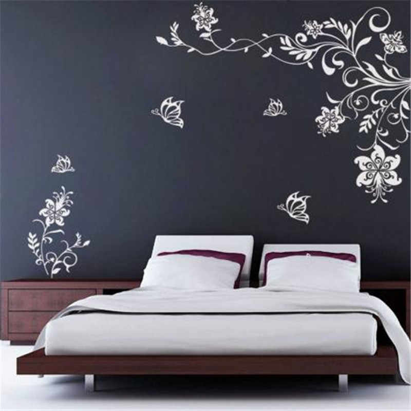 T08033 Butterfly Vine Flower Wall decals Vinyl Art Stickers Living Room Mural decor Bedroom green decorative plant stickers