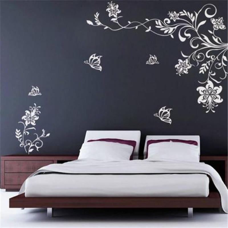 T08033 Butterfly Vine Flower Wall decals Vinyl Art ...