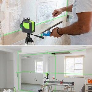 Image 5 - Huepar 12 خطوط ثلاثية الأبعاد عبر مستوى خط الليزر الأخضر شعاع الليزر الذاتي التسوية 360 الرأسي الأفقي مع جهاز استقبال ليزر LCD الرقمية