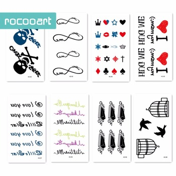24 Different Classical Tattoo designs black tattoo Temporary Tattoo Skeletons, elephants, the birds fly waterproof sticker. gamma ray skeletons