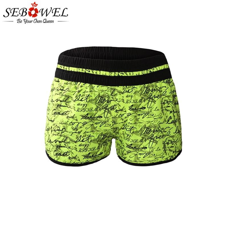 SEBOWEL 2019 Sexy Yellow Individual Handwriting Print Swim Shorts Swimwear Shorts Women Summer Drawstring Board Shorts Swimsuit