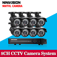8CH CCTV DVR System HDMI 1080P Output HD 800TVL Night Vision IP Surveillance Camera Kit CCTV