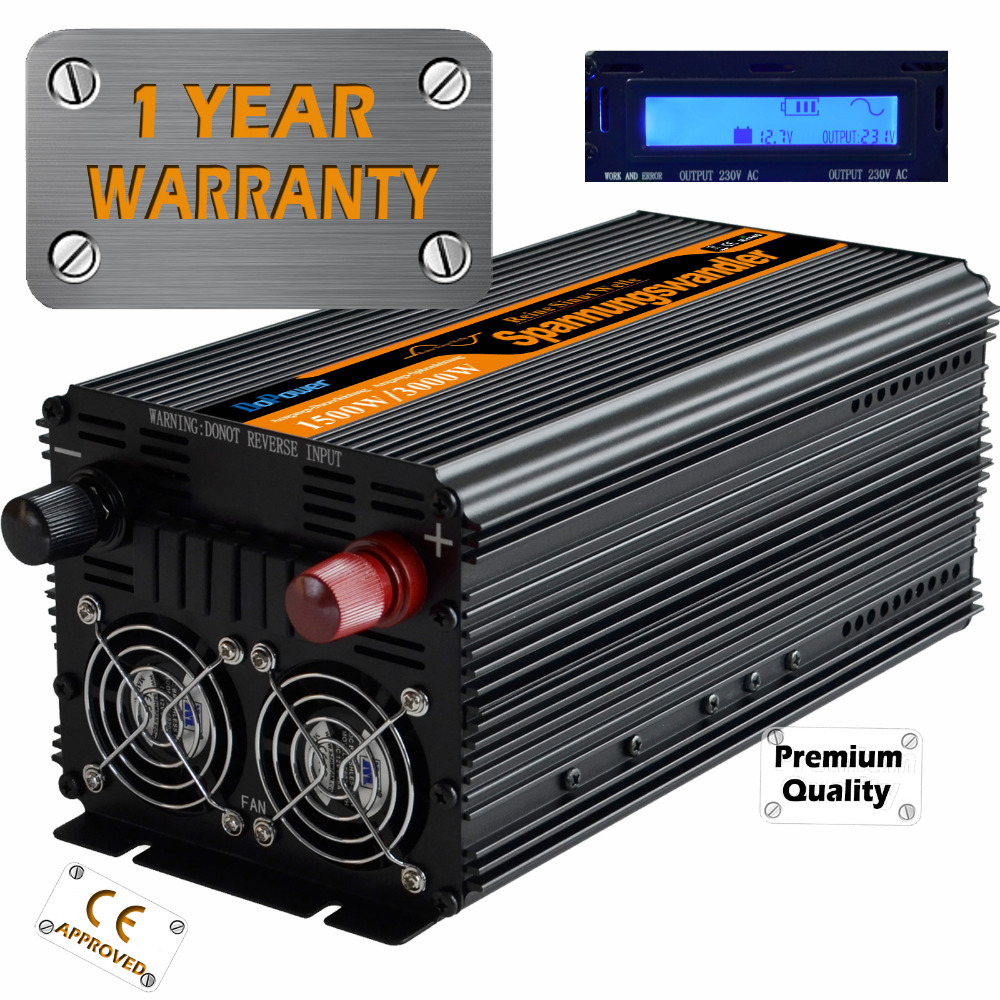 pure sine wave power inverter DC12V to AC220V 1500 watt  Peak 3000w  outdoor home school frequency inverter