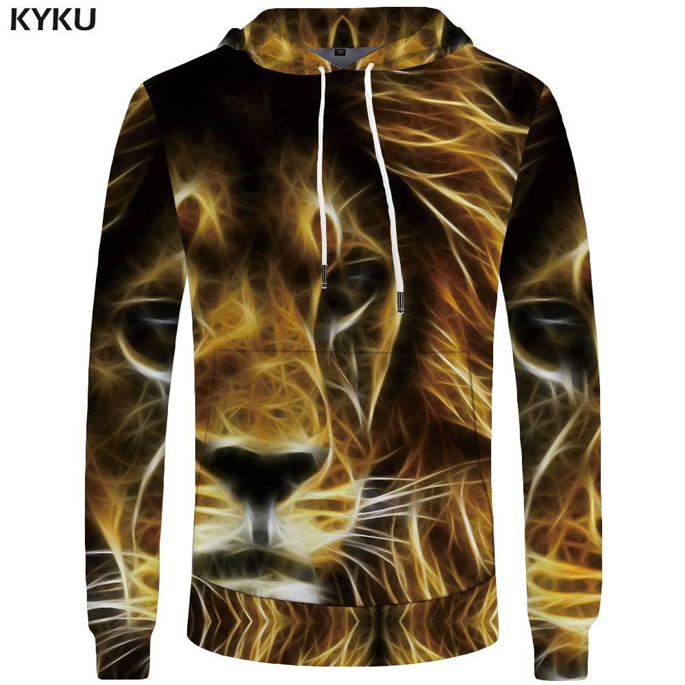 KYKU Lion Hoodies Men Flame Pocket Animal Hoddie Mens Clothing Sweatshirt Sweatshirts 3d Hoodies Hood Hip Hop Fashion Winter