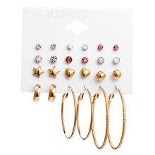 цена на Vintage Oversize Twist Earrings Set for Women Fashion Punk Beads Crystal Heart Stud Earrings Party Jewelry 12 Pair/lot