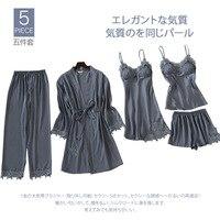Women Sleepwear Satin pyjamas women Sexy lingerie Silk pajamas for women Home Wear 5 Pieces sleep lounge With Chest pads