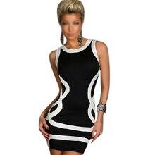 De las mujeres del verano del o-cuello sexy dress blanco geométrico del estilo del tanque vestidos de noche club wear