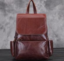 LOVMAXI Unsex Véritable sacs à dos en cuir vintage Hommes/femmes de causalité sacs à dos sacs en cuir de vache café sac à dos