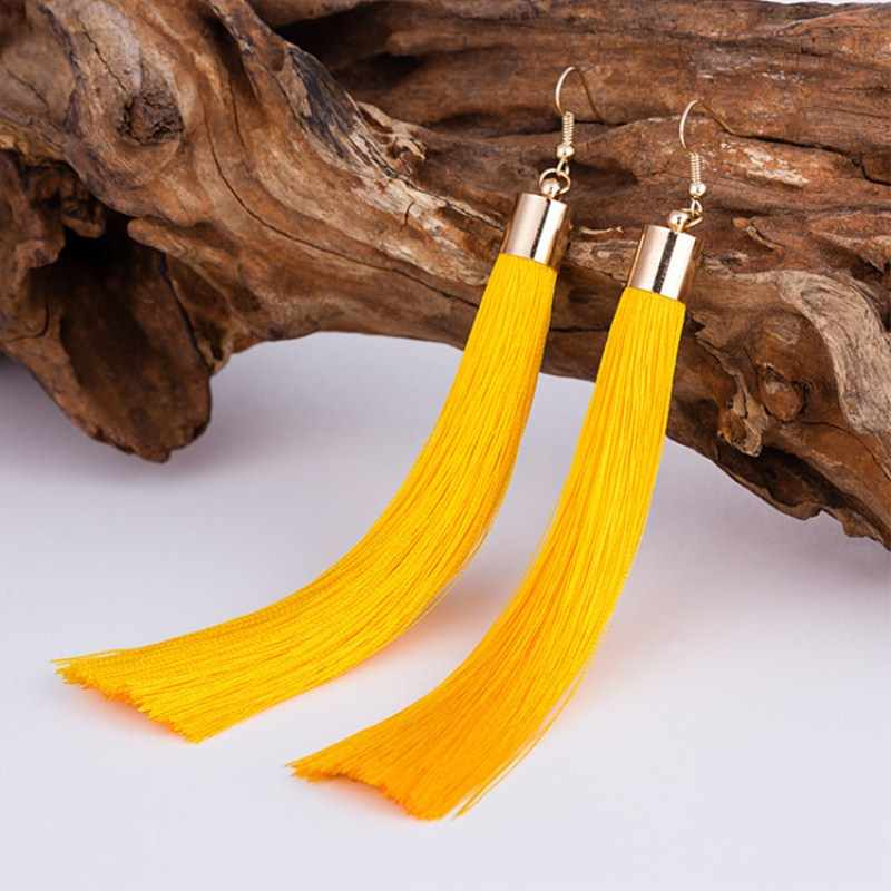 EK2048 Ethnic Boho Colorful 2018 Fashion Long Tassel Earrings Handmade Trendy Women Wedding Statement Earrings Fringed Brincos