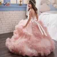 Роскошные принцессы для девочек Кружево свадебное платье Кружево длинные Детские платье для девочек e для девочек Пианино производительно