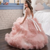 Luxury Princess Girl Lace Wedding Dress Lace Long Kids Girl Dresse For Girl Piano Performance Birthday