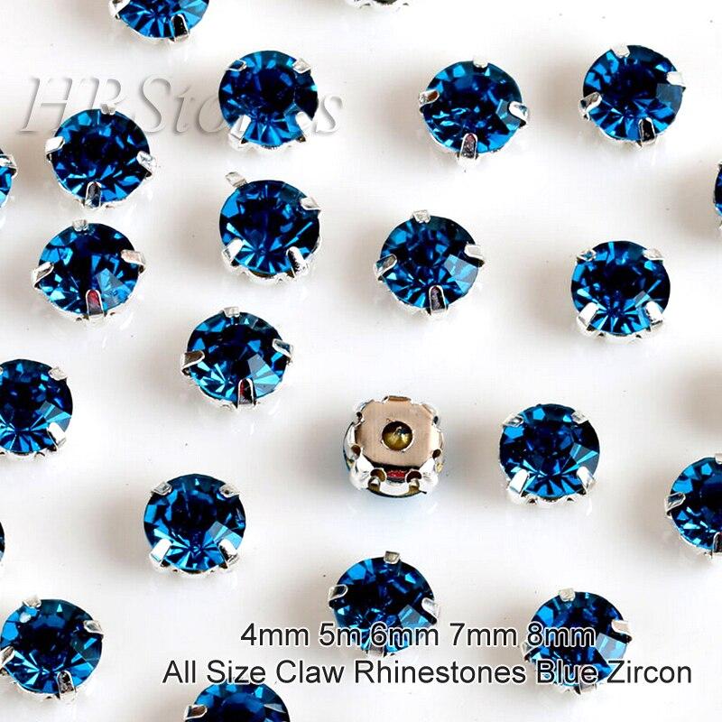 ≧Todo el tamaño azul ZIRCON Claw Diamantes con piedras falsas ...