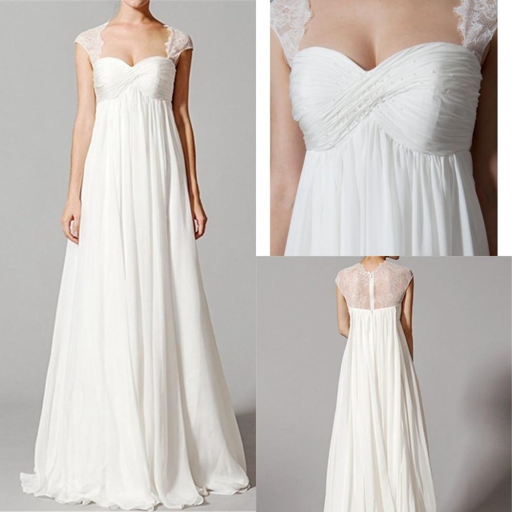 New Beading Empire Waist Lace Maternity Plus Size Wedding Dress 20  Vintage Bridal Dress Wedding Dresses Reception Bridal Gown