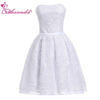 Alexzendra Lace White Mini Short A Line Prom Dresses Girl's Bell Dress Party Dresses Customize