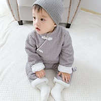 Unisex Baby Rompers Newborn 2017 Autumn Winter New Fashion Cotton Chinese Style Plus Velvet Thickening Soft